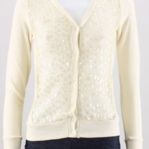 Poof Lita Cardigan with mesh and sequined front